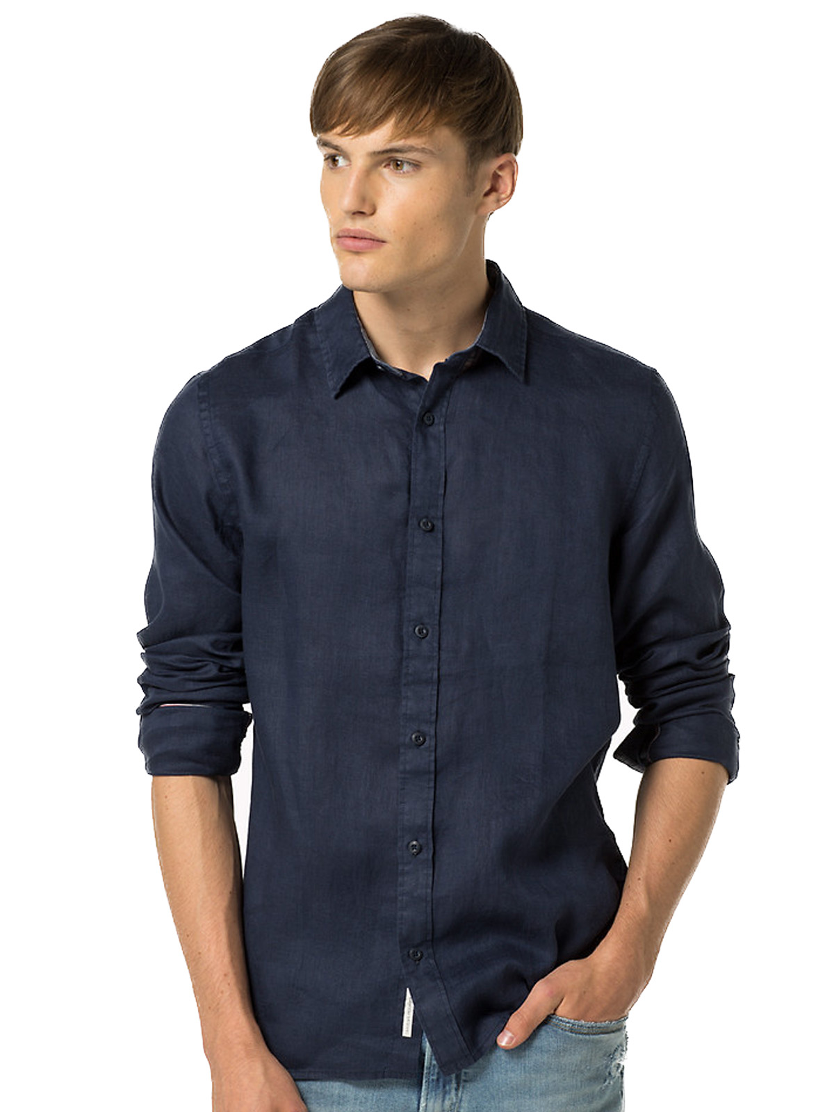 CAMICIA IN LINO INDACO TOMMY | 6 | DM0DM02287406