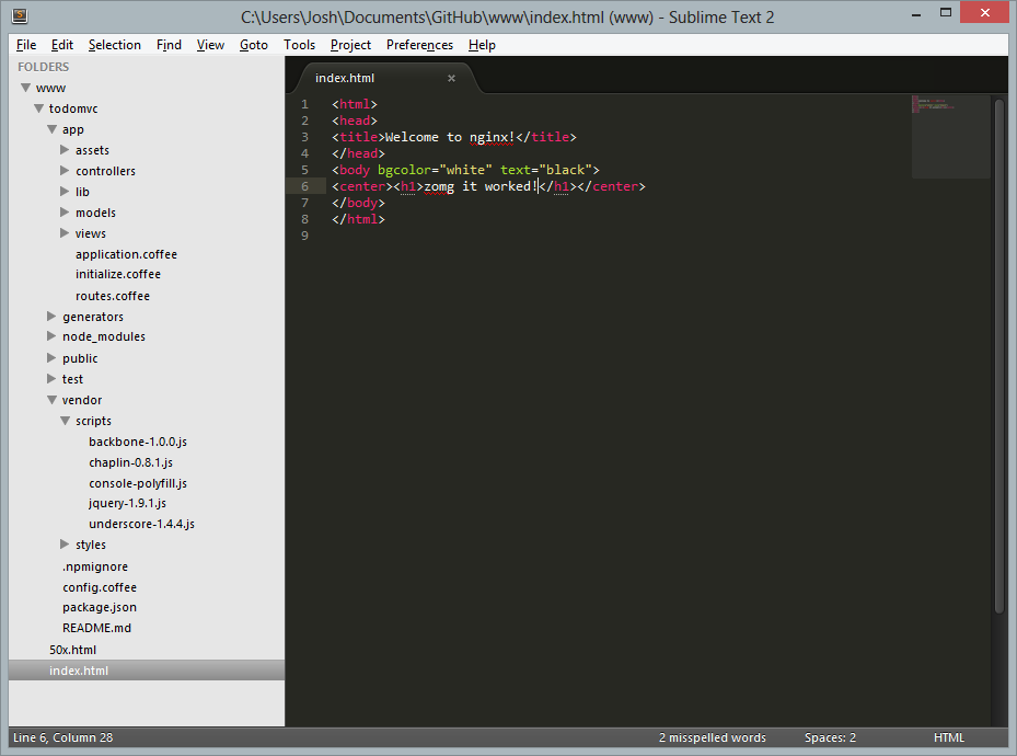 Screenshot of the application's app and vendor folders expanded in Sublime Text