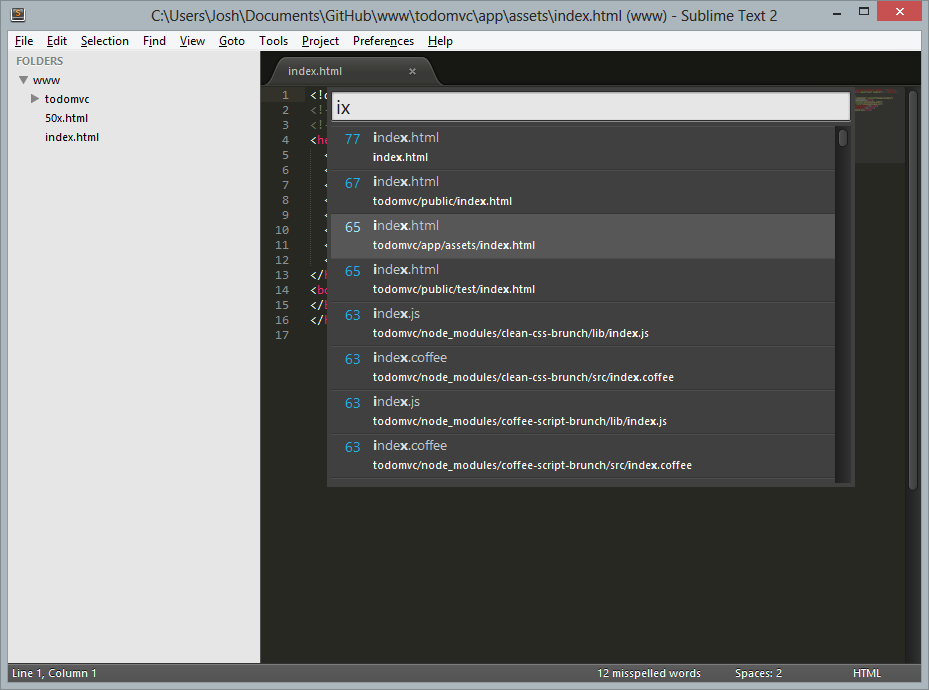 Screenshot of the Sublime Text Goto Anything search for the index.html asset