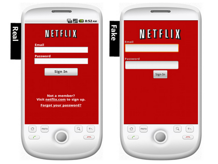 Fake Netflix Android Screen Comparison