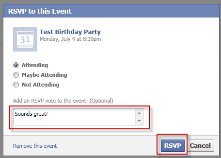Event Invitation dialog from Friends perspective