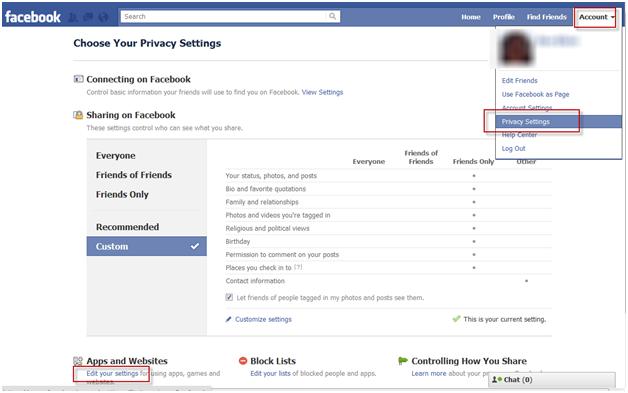 Facebook Security Menu
