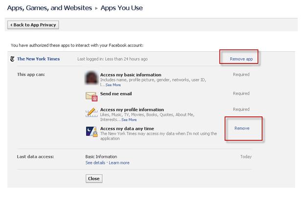 Facebook App Rights Detail Image