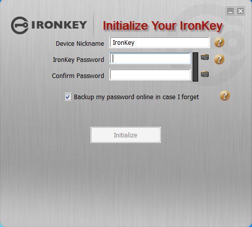 IronKey Login Screen