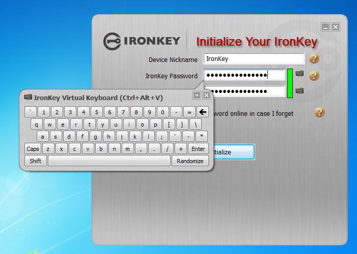 IronKey Initialize Screen