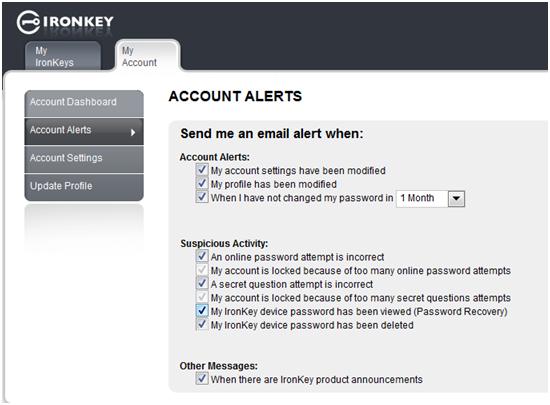IronKey MyIronKey.com Account Alerts
