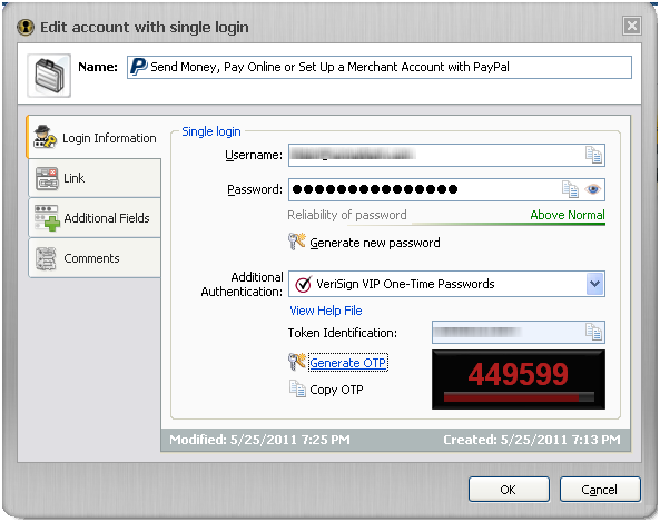 IronKey Identity Manager Edit Screen showing Symantec VIP