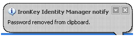 IronKey Identity Manager Clipboard Cleaning Screen
