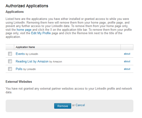 Authorize Applications screen