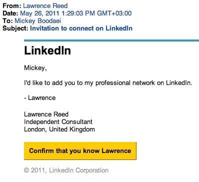 Real LinkedIn Invitation