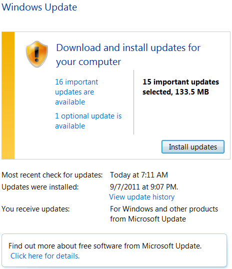 Windows 7 64bit with Office 2010 update Screen