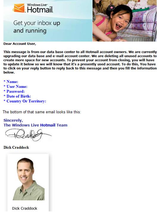 Hot Mail Phishing Sample