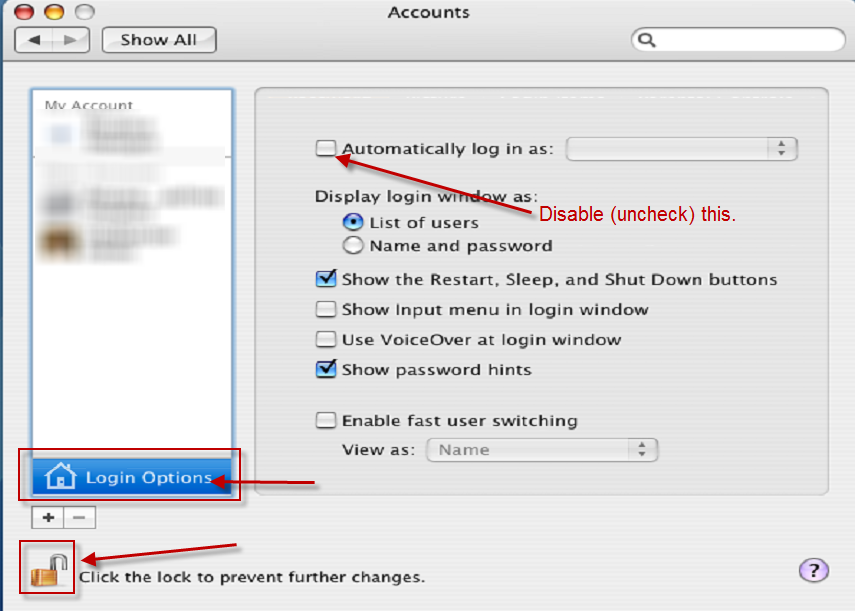 Mac Login Preferences