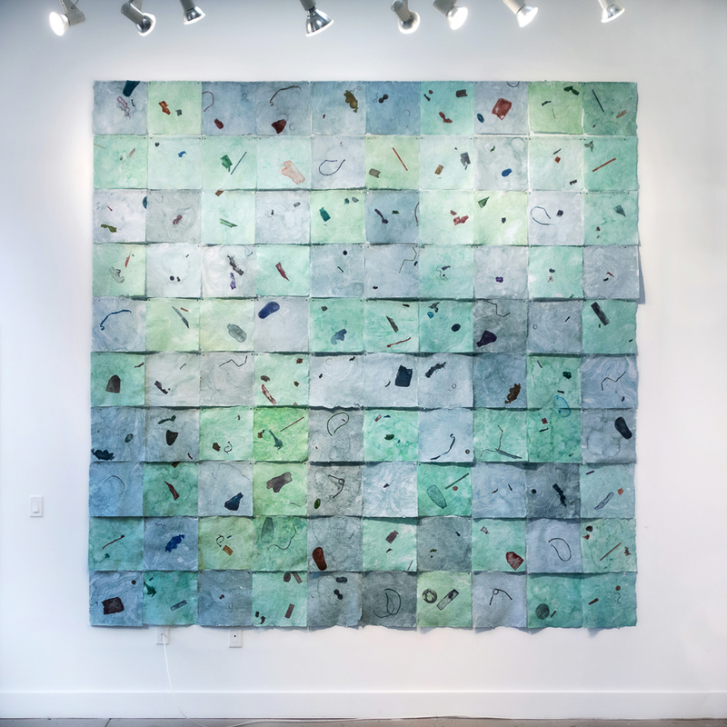 AMANDA J THACKRAY Installation Watercolor monoprints and suminagashi on site-specific handmade paper