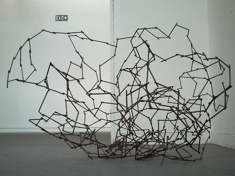 Every Straight Has a Double Crook (Stone), welded metal, 1200 x 600 x 400 mm, 2010.
