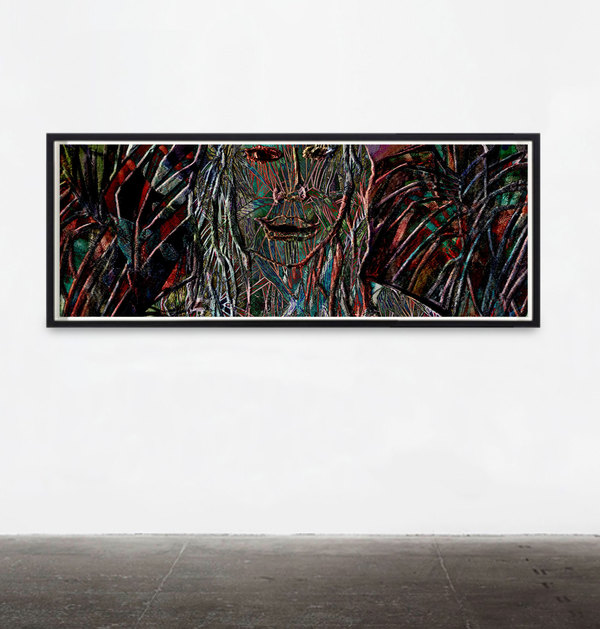 Wave Linehead AJ001, Noodler's ink on Giclée print, 114.5 x 43cm, 2018.