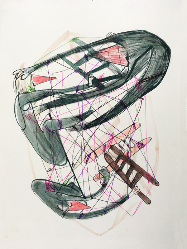 Concept drawing for Weavers in the Floating Frame of Progressive Action, ink on paper, 300 x 300mm,  2011.