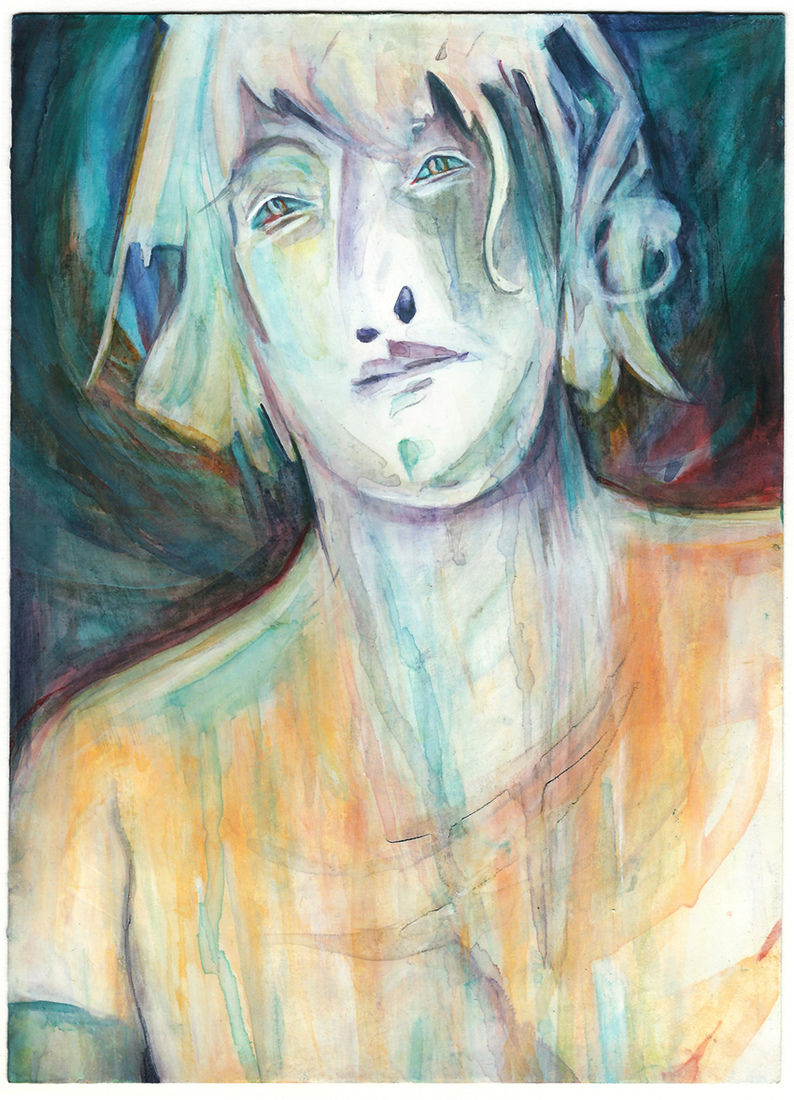 WORKS Hologram Heads to Sea 7, watercolour on paper, 170 x 235 mm, 2016.