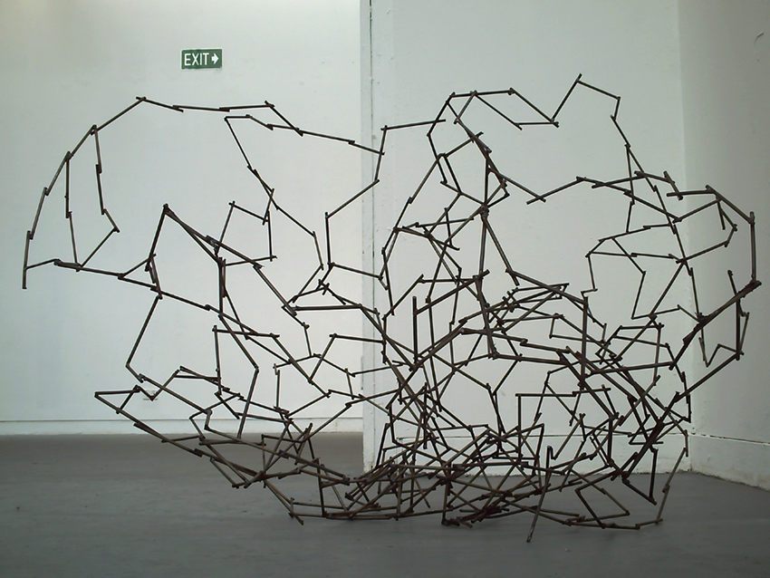 WORKS Every Straight Has a Double Crook (Stone), welded metal, 1200 x 600 x 400 mm, 2010.
