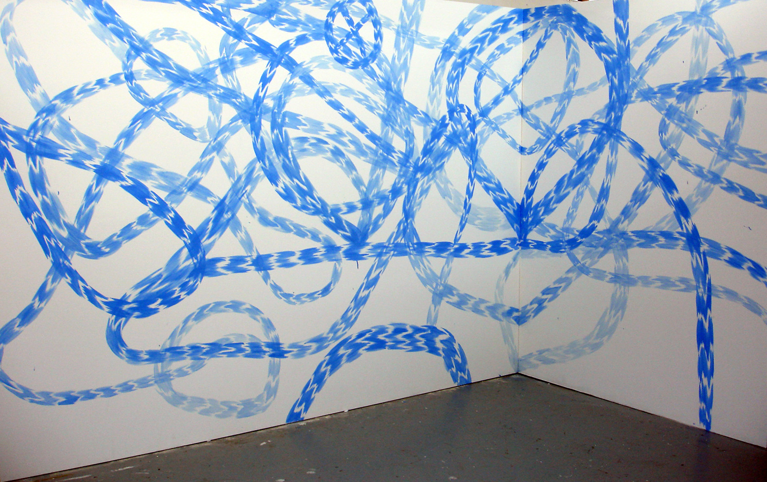 WORKS Stream Spectacle (Blue), oil on panel, panel 1. 2400 x 1200 mm, panel 2. 600 x 1200 mm, 2010.