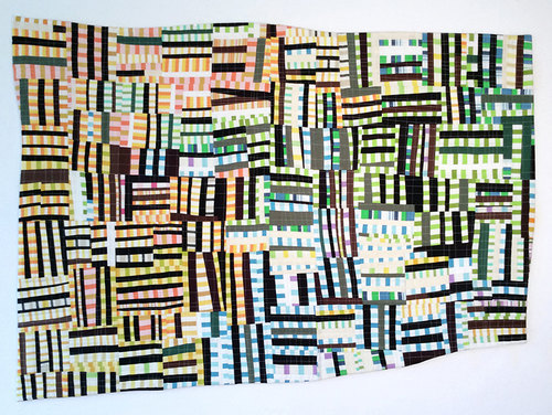 Andrew Steinbrecher Line Study series Fabric, batting, thread. Machine pieced and quilted.