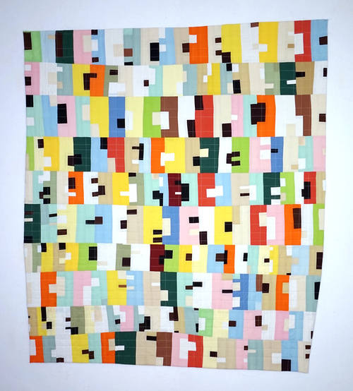 Andrew Steinbrecher Dwellings series Fabric, batting, thread. Machine pieced and quilted.