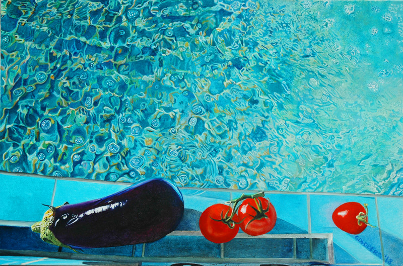 ANN GOLDBERG Pool Scenes Oil on canvas