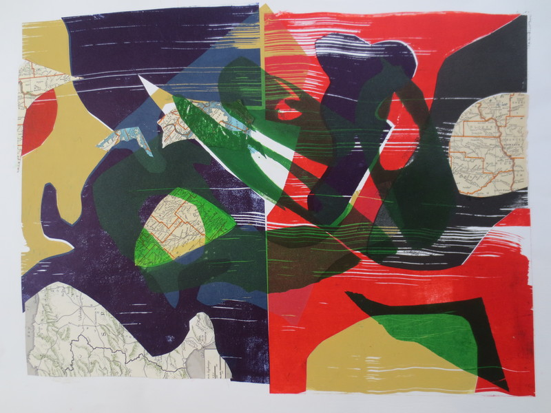 Barbara Shapiro Puzzle Pieces Pronto Plate Lithography and Pasted Paper