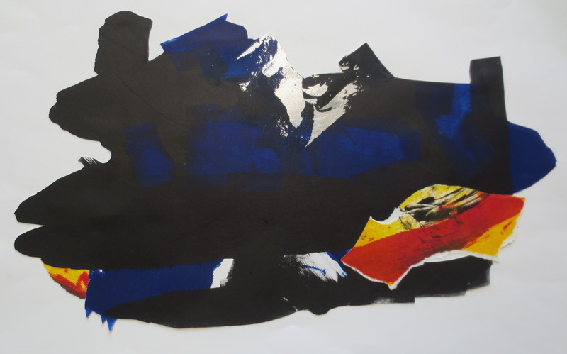 Barbara Shapiro The Blues Monotype with Pasted Paper