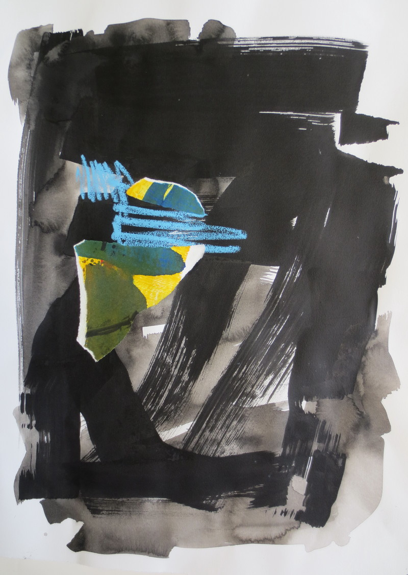 Barbara Shapiro The Blues Ink, Collage, Oil Pastel