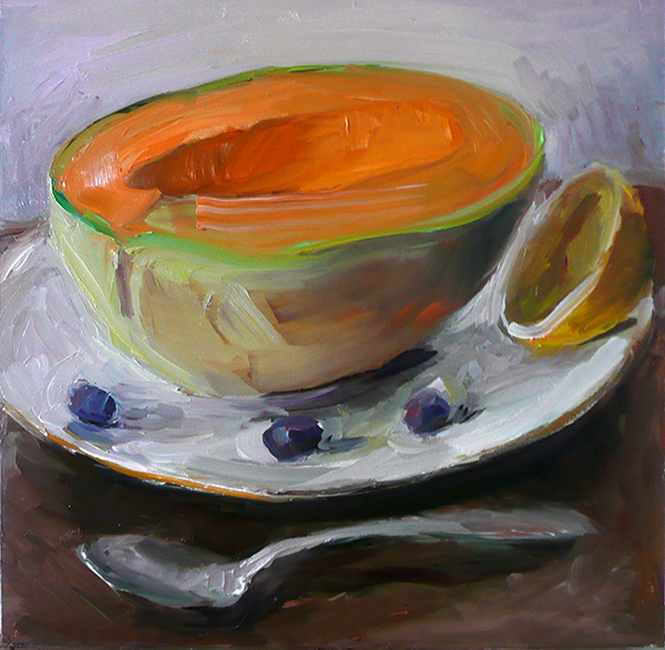 Camilla Fallon Fruit Paintings oil on gessoboard