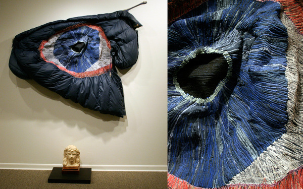 Catherine Fairbanks Works thread sewn into a sleeping bag, ceramic, wood