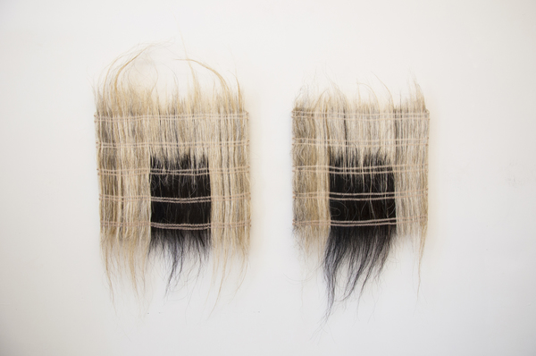 Catherine Fairbanks Works horsehair weavings: Icelandic horsetail hair and hand dyed thread mounted on archival linen