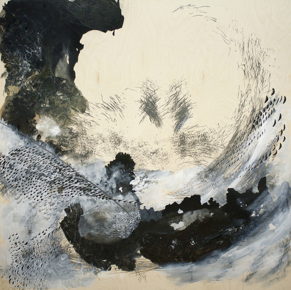 daisie hoitsma paired traces graphite, ink, and acrylic on panel