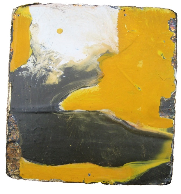 David Geiser Chunks @ Nuggets oil, varnish gold leaf m/m on board