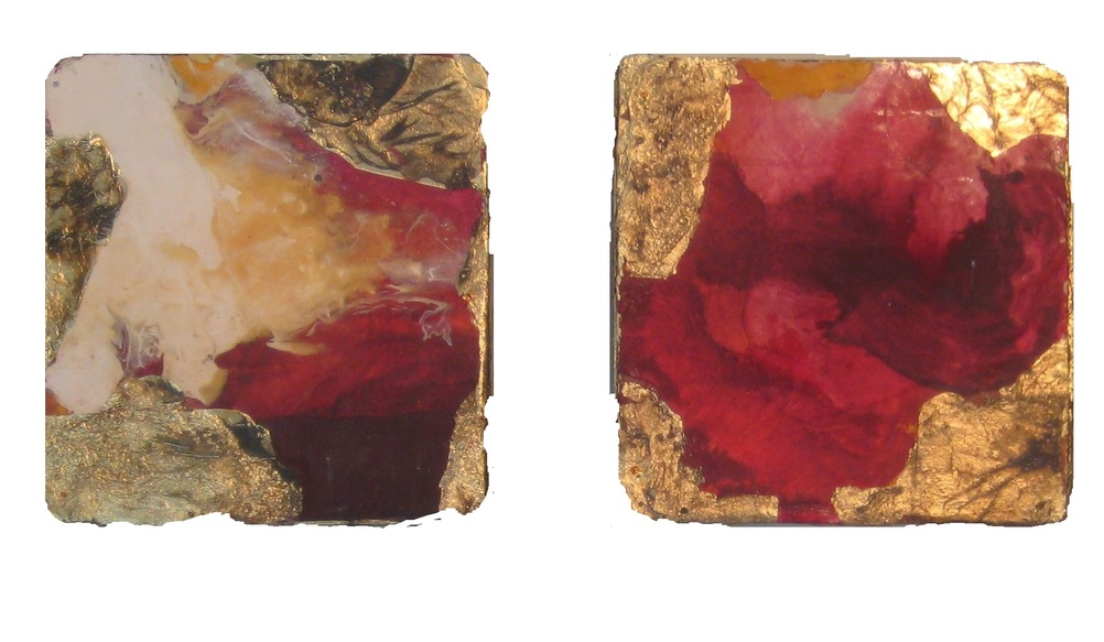 David Geiser Chunks @ Nuggets oil varnish gold leaf m/m on board