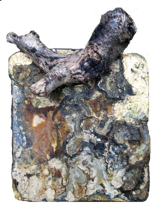 David Geiser Chunks @ Nuggets oil, varnish, drift wood on board
