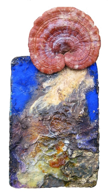 David Geiser Chunks @ Nuggets oil, varnish, gold leaf, herbal fungus on board