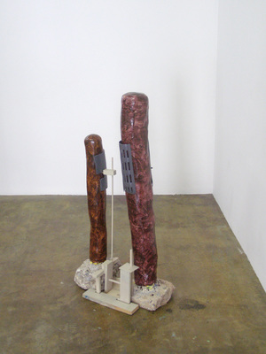 David McDonald Self Portraits Mortar, Wood, Hydrocal, Found Plastic, Cardboard, Enamel Paint