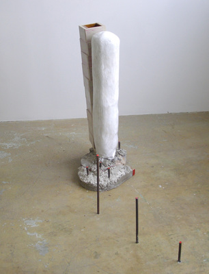 David McDonald Self Portraits Mortar, Wood, Hydrocal, Rebar, Enamel Paint
