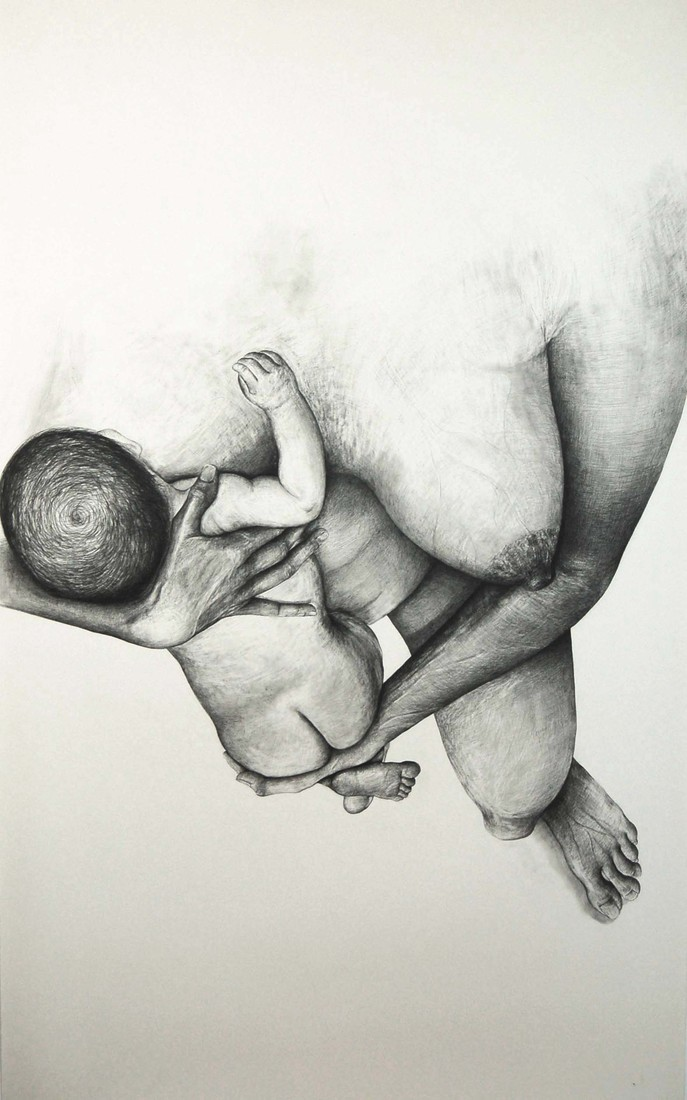 Drawings 2005-2007 Self-Portrait with Baby / Autoportrait avec bébé