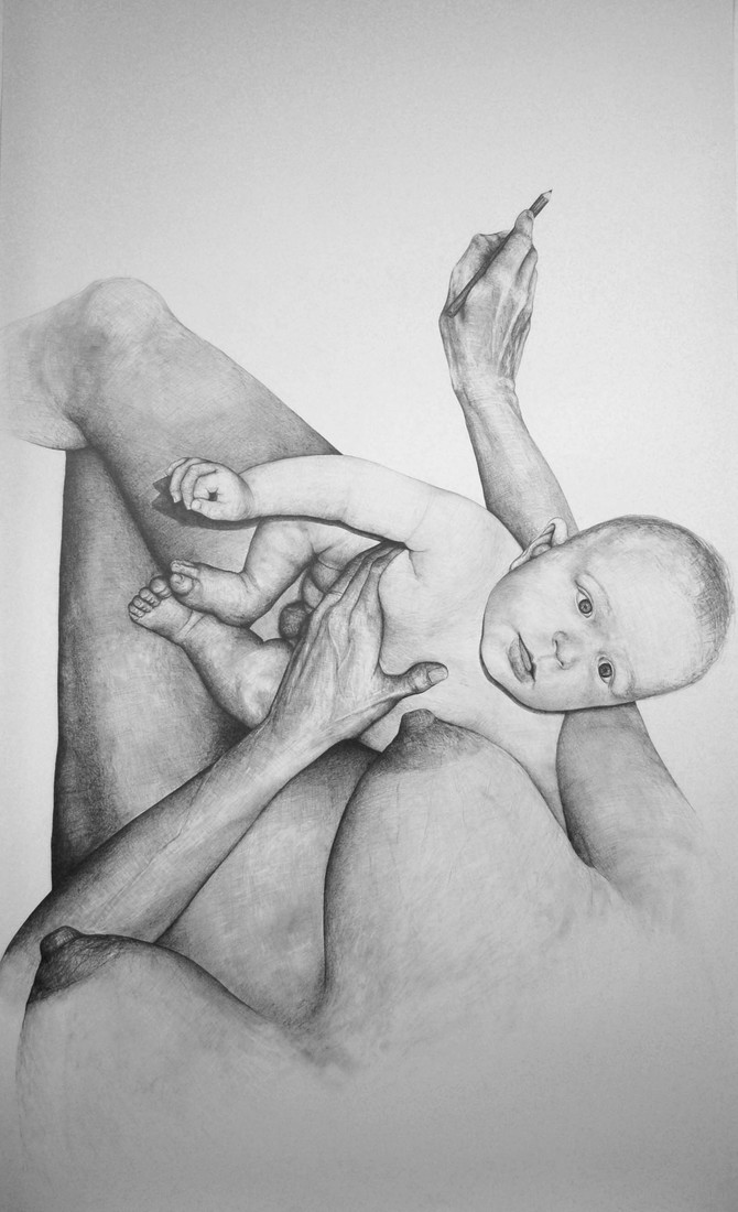 Drawings 2005-2007 Self-Portrait with Baby 3 / Autoportrait avec bébé 3