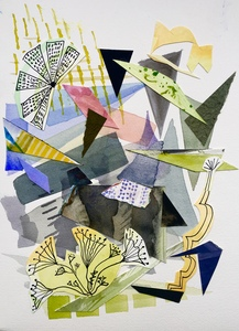 Dorothy Englander Collages 2018 watercolor with watercolor and ink collage