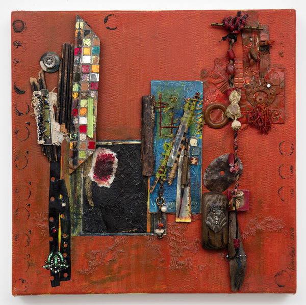 Ellen Devens Mixed media on canvas oil paint, works on paper, fabric, wood, colored glass tiles, metal, cord, leather, beads, lucite, buttons, string