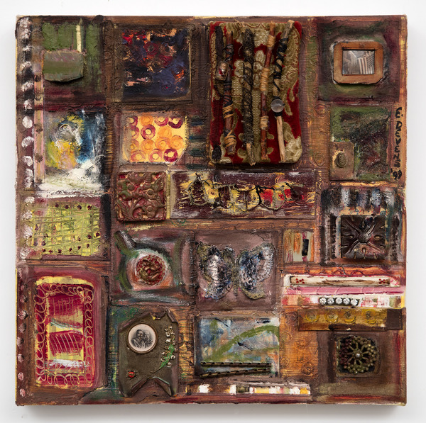 Ellen Devens Mixed media on canvas oil paint, works on paper, antique Hungarian metal historical memorabilia, beads, wire, leather, photograph, wood