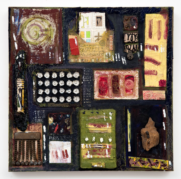 Ellen Devens Mixed media on canvas oil paint, original works on paper, button card, wood, handmade fabric bundles, antique military ornament, paper envelope with enclosures