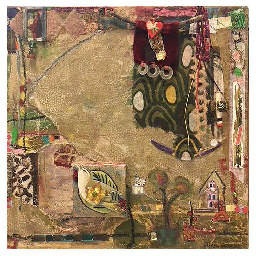 Ellen Devens Mixed media on canvas Oil pastel / paint, fabric, paper, painted canvas remnants, painted stamping on antique Turkish textile, beads, glass, glass stones,