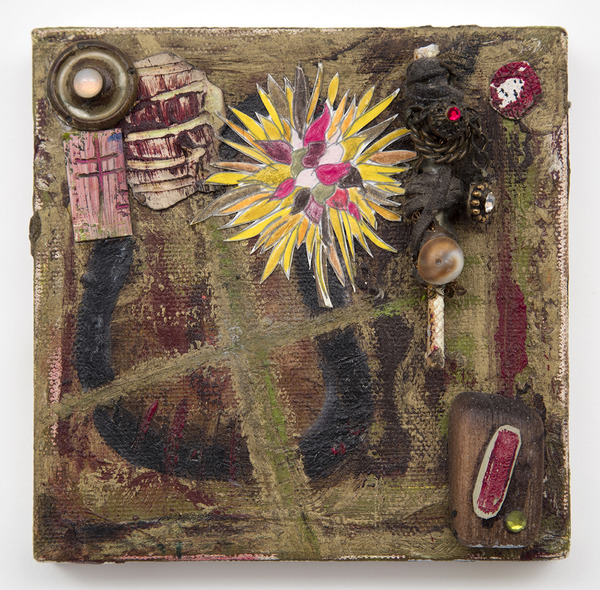 Ellen Devens Mixed media on canvas original works on paper, wood, glass stones, shell, metal element