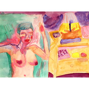 FAR x WIDE BEER, SODA, CIGARETTES, LAMPSHADES watercolor, gouache, and colored pencil on paper