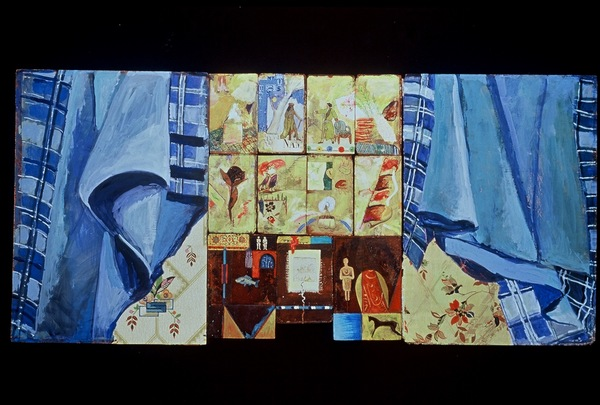 Frances Hamilton Archive Gouache, Collage on Book Boards, Triptych